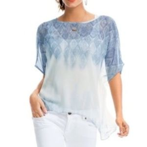CAbi Tunic Sheer Fade Blue and White Size M